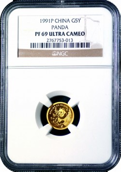 1991-P 5Y Gold Panda Proof PF69