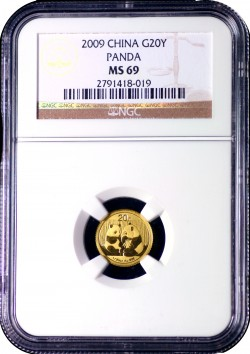 2009 20Y Gold Panda NGC MS69  fs 2791418-019